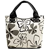 Bold Large Black and White Floral Pattern Shopper Hobo Tote Bag Handbag Daybag, Bags Central