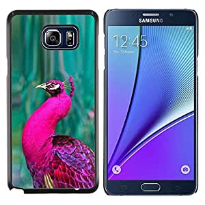 Planetar® ( Peacock Green Bird púrpura vibrante pluma ) Samsung Galaxy Note 5 5th N9200 Fundas Cover Cubre Hard Case Cover