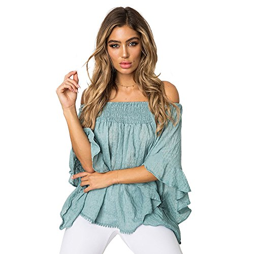 Strapless Ruffle Cotton - Poptem Sexy Women's Off The Shoulder Blouse Tops Ruffle 3/4 Bell Sleeve Summer Casual T Shirts