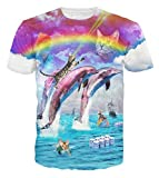 Chiclook Cool Dolphin Jumping Graphic Tees Painting T-Shirt 3D Hip Hop T Shirt (M)