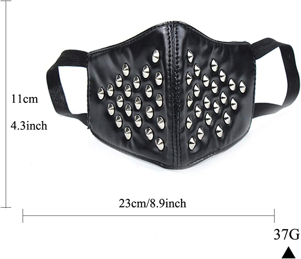 Jeilwiy Leather Mask Spike Mask Biker Half Face Mask Workout Sports Protective Punk Mask Cosplay Gifts