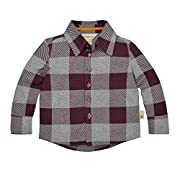 Burt's Bees Baby Baby Boys' Organic Button Down Shirt, Deep Autumn Buffalo Check, 24 Months