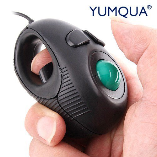 (YUMQUA Y-01 Portable Mini Finger Hand Held 4D USB Wired Trackball Mouse for Laptop Mac Window Computer Fits Left and Right Handed Users -Black)