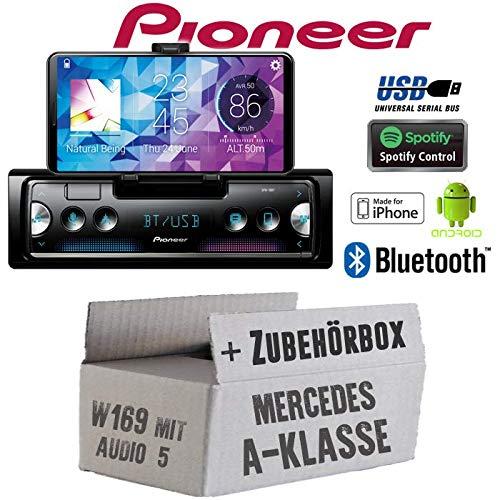 Mercedes A-Klasse W169 Audio 5 - Autoradio Radio Pioneer SPH-10BT - Smartphone Empfä nger mit Bluetooth | Spotify | Android | iPhone | 4x50Watt Einbauzubehö r - Einbauset JUST SOUND best choice for caraudio