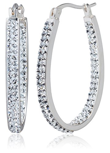 Carly Creations Women's Silver Plated Genuine Crystal Hoop Earring - Clear