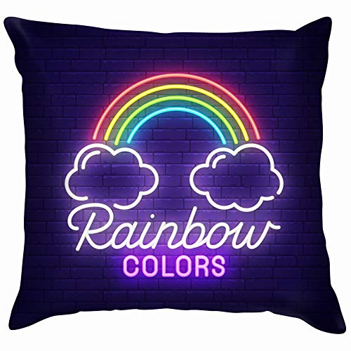Rainbow Neon Sign Signboard Light Funny Square Throw Pillow Cases Cushion Cover for Bedroom Living Room Decorative 20X20 Inch]()