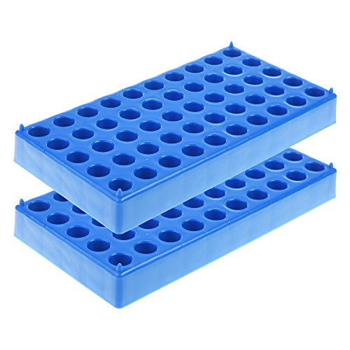 BCP 2pcs 50 Position Blue Color Polypropylene Micro centrifuge PCR Tube Rack for Centrifuge Tubes 1.5ml 2.0ml (Pcr Polypropylene Tubes)