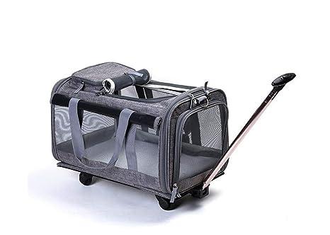 Cutepet Trolley Mochilla para Perro Gato Mascotas Carrito para Viajes Senderismo Campin,Gray