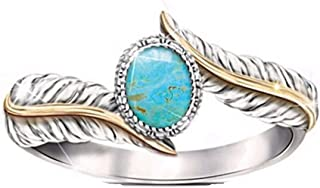 Leewos Clearance! Easter Rings,Women Cocktail Party Wedding Jewelry Gift Turquoise Feather Ring