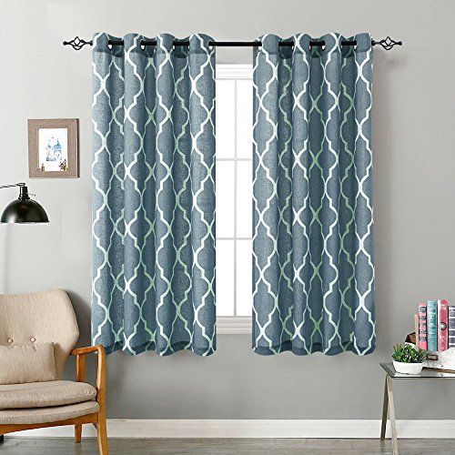 Moroccan Tile Curtains Living Room 54 inch Long Linen Look Textured Quatrefoil Window Treatment Set for Bedroom Window Drapes 2 Panels, Blue on Flax