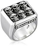 Room101hombre plata de ley multi-skull bloque anillo