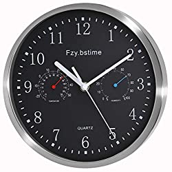 Fzy.bstim Non Ticking Silent Wall Clock Battery Operated,Stainless Steel Wall Clock with Thermometer and Hygrometer, Office/Living Room/Bathroom/Kitchen Clock,10 inch