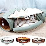 MYIDEA Cat Tunnel Nest - Foldable Soft Toy Bed Big Passage Two Cats Play Together (Cat Tunnel, Matcha)