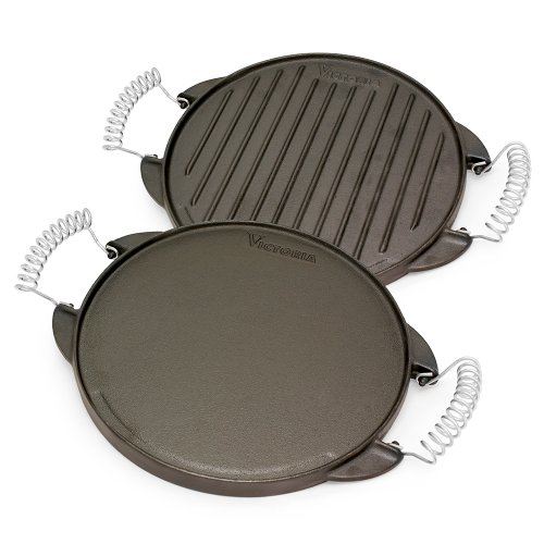 Victoria GDL-155 Round Cast Iron Gril. Double Burner Griddle, with Wire Handles Seasoned with 100% Kosher Certified Non-GMO Flaxseed Oil, 10 Inch, Black (Best Way To Cook Scrapple)