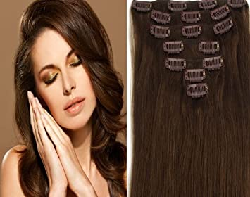 Amazon clip in remy real human hair extensions 20 inch dark clip in remy real human hair extensions 20 inch dark brownmedium dark brown chocolate pmusecretfo Choice Image