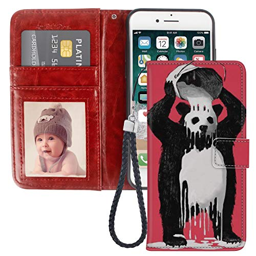 Pingge iPhone 7 8 Wallet Case Felting Panda Lightweight Slim Shockproof Cellphone Case Cover with Card Slots Kickstand for iPhone 7 8-1X ()