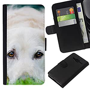 Stuss Case / Funda Carcasa PU de Cuero - Labrador Retriever White Dog Puppy - Samsung Galaxy Core Prime