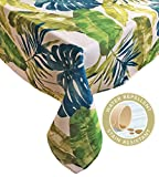 Newbridge Andros Tropical Leaves Summer and Spring Indoor/Outdoor Soil Resistant and Water Repellent Fabric Tablecloth - Patio, Picnic, BBQ, Kitchen Table Linens, 60 Inch X 120 Inch Oblong