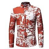 FUNIC Men's Spring Summer Casual Slim Fit Long Sleeve Printed Shirt Top Blouse (M, Orange)