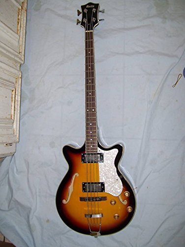 Bass guitar, semi hollow body, 4 string, flamed maple wood body (Semi Hollow Body Electric Bass)