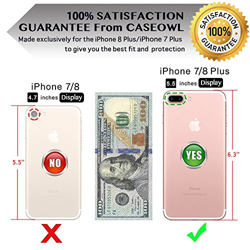 iPhone 8 Plus Case,iPhone 7 Plus Flip Embossed Leather Wallet Cases with Protective Detachable Slim Case Fit Car Mount,CASEOWL Mandala Flower Design with Card Slots, Strap for iPhone 7/8 Plus[Gray] by CASEOWL (Image #2)