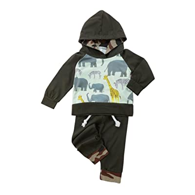 Baby 2Pcs Clothes,Littleice Toddler Boy Girl Animals&Camouflage Hoodie Tops+Pants Outfits Clothes Set