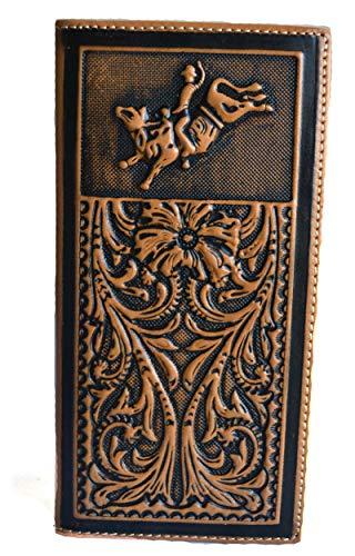 - men's rustic brown embossed tooled bull rider rodeo bifold long wallet