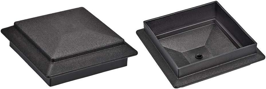 Flat Top Post Cap for Fence Stair Handrail Post Kunststoff 120 x 120 mm Schwarz Grau