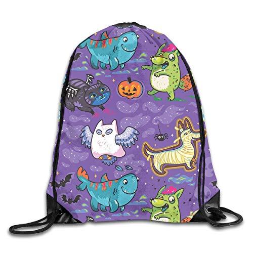 Happy Halloween Ghostly Star Cat Owl Dog Bat Pumpkin Drawstring Backpack Bag Beam Mouth Gym Sack Shoulder Bags For Men & Women ()