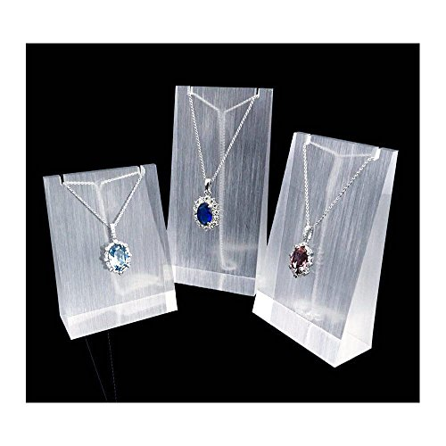 Necklace Display Stand Fine Exhibition Jewelry Holder Acrylic Store Gallery Trade Shows (Set of 3) (Glossy) Acrylic Jewelry Display
