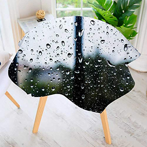 Jiahonghome Round Tablecloths-Beads of Water on Glass Waterproof Oilproof Hotproof Table Cloth Table Multiple Styles 63