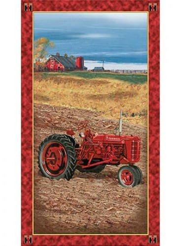 Farmall Tractor On The Farm Panel 100% Cotton Fabric by The Yard