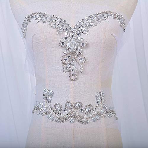 (Delicate Beaded Applique V-Neck Rhinestone Sequined Trim Bridal Applique Patch Set Sew On Wedding Dress Neckline Waist Belt Silver Color)