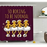 junnikay Animal Decor Shower Curtain, Funny Ballerina Dancing Monkeys with So Boring to Be Normal Quote Print, Fabric Bathroom Decor Set with Hooks, 60W X 72L inch, Maroon Merigold