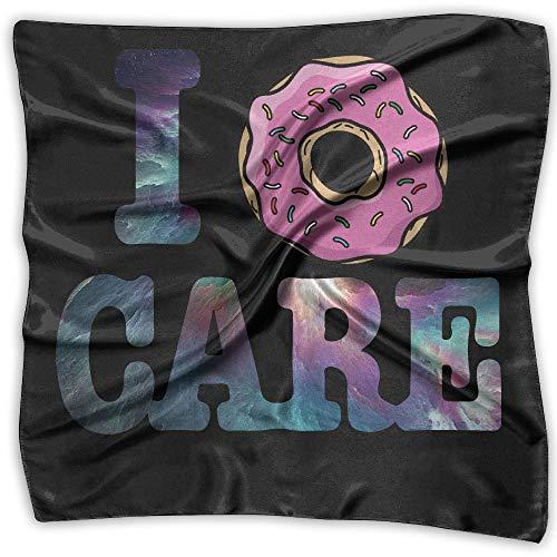 Print Satin Wrap - Women Lady I Donut Care Galaxy Print Square Kerchief Scarf Head Wrap Neck Satin Shawl