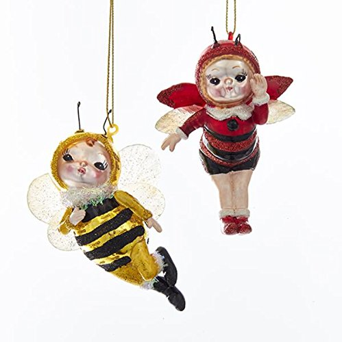 Kurt Adler GLASS RED LADYBUG FAIRY AND FLYING BUMBLE BEE FAIRY ORNAMENT - 2 - Bumblebee Glasses