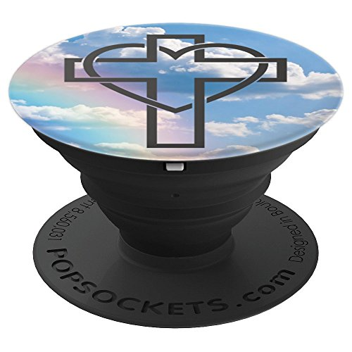 Rainbow Blue Sky Clouds Crucifix Heart Cross Jesus God - PopSockets Grip and Stand for Phones and Tablets