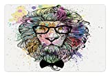 Lunarable Girls Pet Mat for Food and Water, Retro Style Hipster Lion with Glasses and Bowtie King of Animals Splash Style Art, Rectangle Non-Slip Rubber Mat for Dogs and Cats, Multicolor