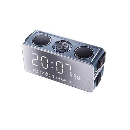 JUEJIDP Altavoz inalámbrico Bluetooth Subwoofer con sobrepeso Mini reloj de alarma móvil Alarm Coche Exterior Cañón
