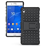 Sony Xperia Z4 Case, JKase DIABLO Series Tough Rugged Dual Layer Protection Case Cover with Build in Stand for Sony Xperia Z4 (Black)