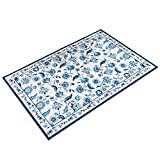 Collections Etc Elegant Radley Floral Skid-Resistant Accent Rug, Blue, 48'' X 72''