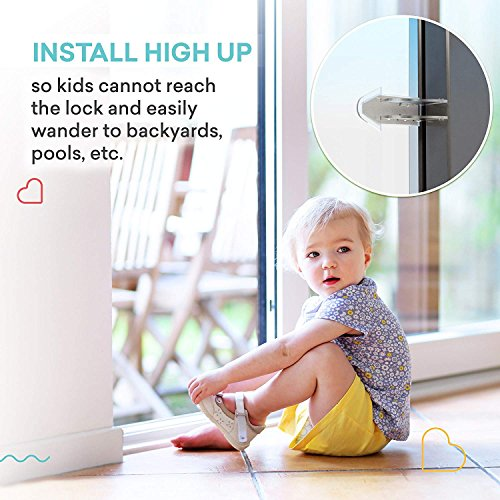Cupid Pack of 4 Sliding Window Locks Stop and 4 Sliding Door Lock – Sliding Security Door Stop & Child Window Locks to Child Proof Your Home - Aluminum Alloy Door & Windows Safety Lock – 8pcs by CUPID (Image #6)