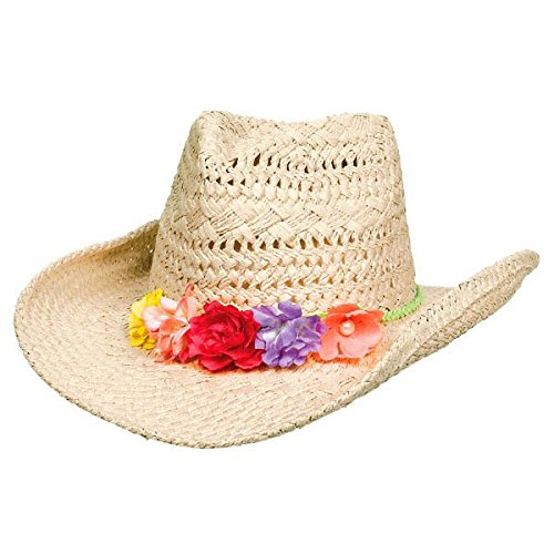 Oasis Cowboy Hat with Floral Hatband Hawaiian Summer Luau Costume Dress Up Party Headwear, Straw, 4