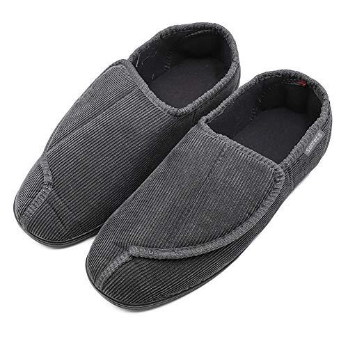 BIZAR Men's Memory Foam Slippers for Diabetic, Soft Wide Width House Shoes with Plush Fleece Arthritis Edema Swollen Feet Indoor/Outdoor (11 M US, Pinstripe Gray)