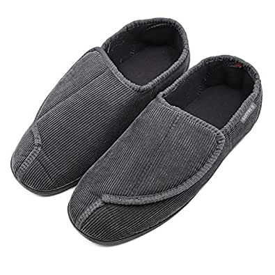 BIZAR Men's Memory Foam Slippers for Diabetic, Soft Wide Width House Shoes with Plush Fleece for Swollen Feet Edema Arthritis, Indoor/Outdoor Grey Size: 8