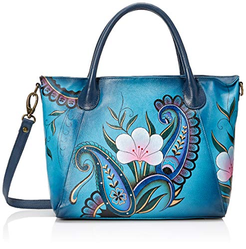 Anna by Anuschka Women's Genuine Leather Large Slouch Tote Bag | Hand Painted Original Artwork | Denim Paisley Floral