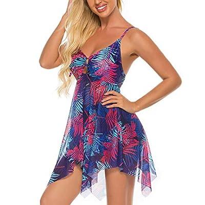 FINWANLO Womens Two Piece Swimsuits Tankini Top Set Mesh Swimdress Printed Swimwear with Boyshort Bathing Suits: Clothing