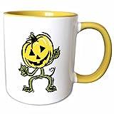 3dRose Susans Zoo Crew Holidays Halloween - pumpkin man standing vine - 15oz Two-Tone Yellow Mug (mug_178378_13)