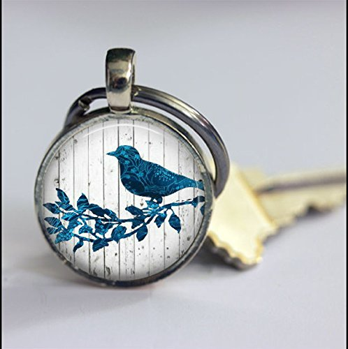 Vintage Keychain Blue Bird On the Branch Key Chain-Antique Silver Keyring-Art Bird Keyring- Keychain Accessories-Handmade Jewelry Glass Key Chain Jewelry For Women or Men -