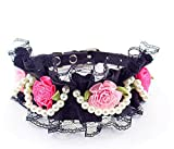 FRETOD Pet Leather Collar, Cute Lace Necklace with Retro Handmade Rose & Pearls, for Cat & Dog